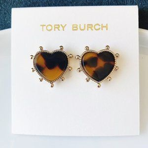 Tory Burch tortoiseshell heart earrings